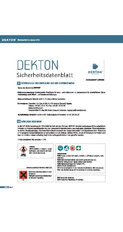Dekton Safety Datasheet