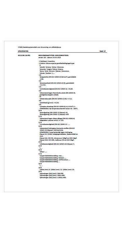 STABU bestekssystematiek voor de woning - Dekton Ultracompact werkblad pantryblad