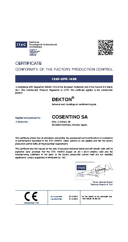 Certificate of conformity - Factory production control