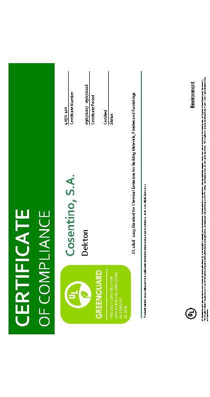 Dekton Greenguard Gold Certificate 41572 2018