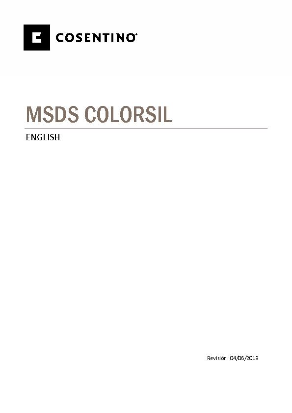 MSDS Security Data Sheet Colorsil