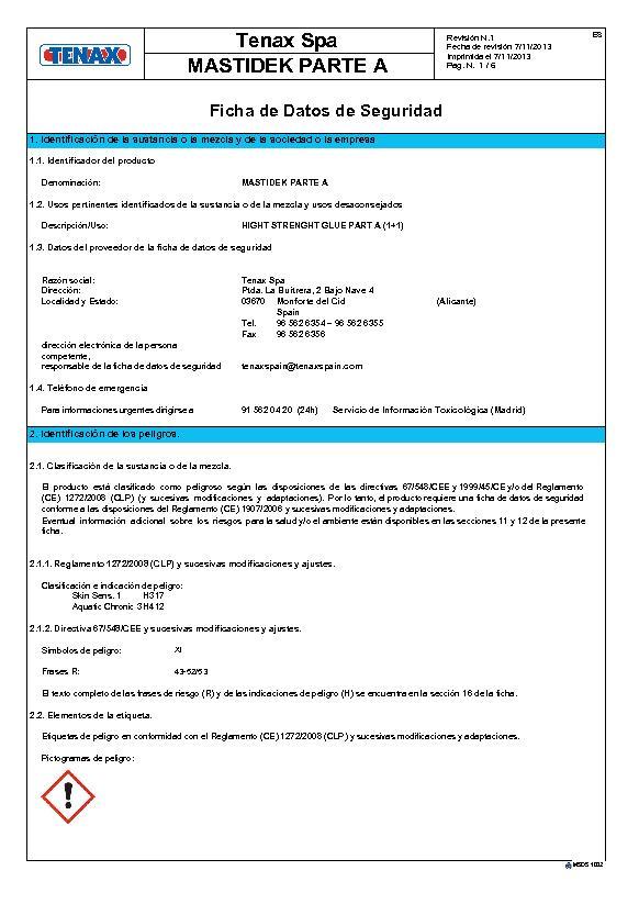 MSDS Ficha de Seguridad Mastidek (A)