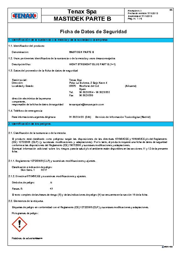 MSDS Ficha de Seguridad Mastidek (B)