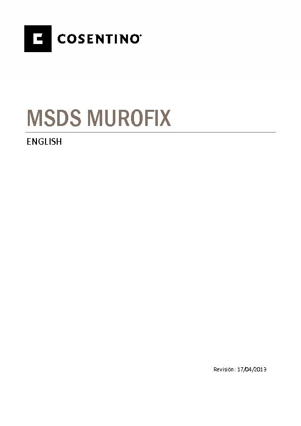 MSDS Security Data Sheet Murofix