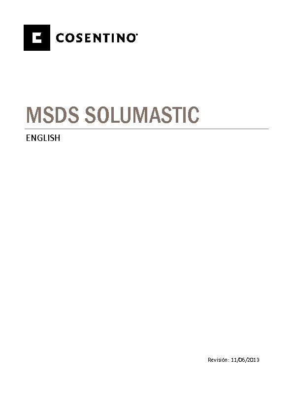 MSDS Security Data Sheet Solumastic