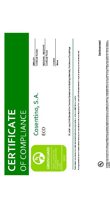 ECO Certificate 5999 Greenguard Gold 2016