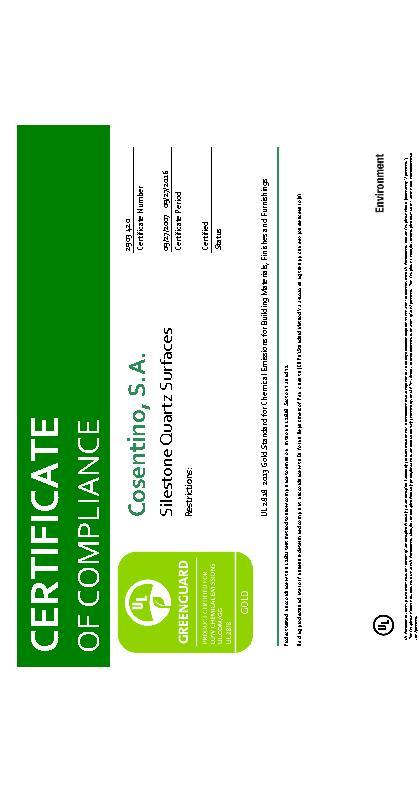 Silestone Certificate 2903 Greenguard Gold 2028