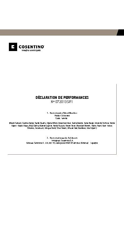Silestone Declaration Performances Fam I