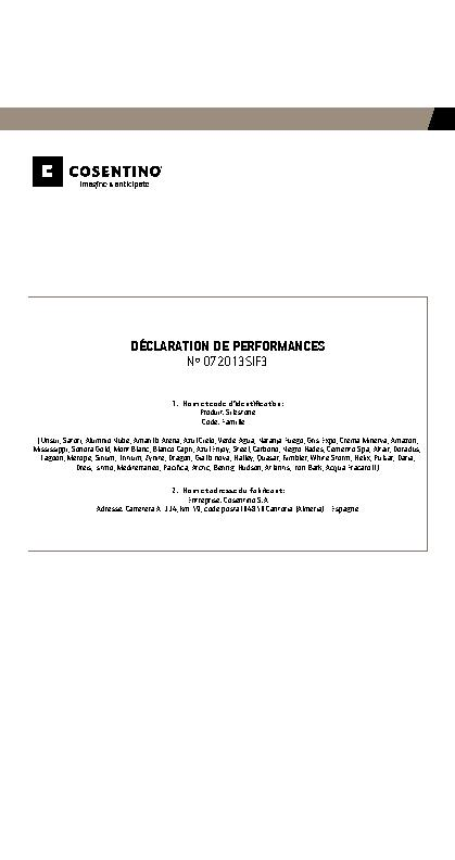 Silestone Declaration Performances Fam III