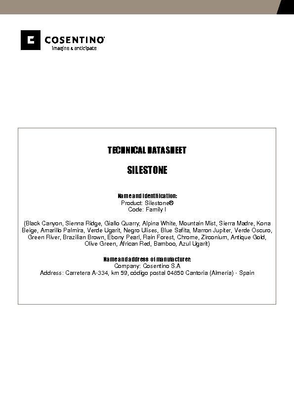 Silestone Technical Datasheet Fam I