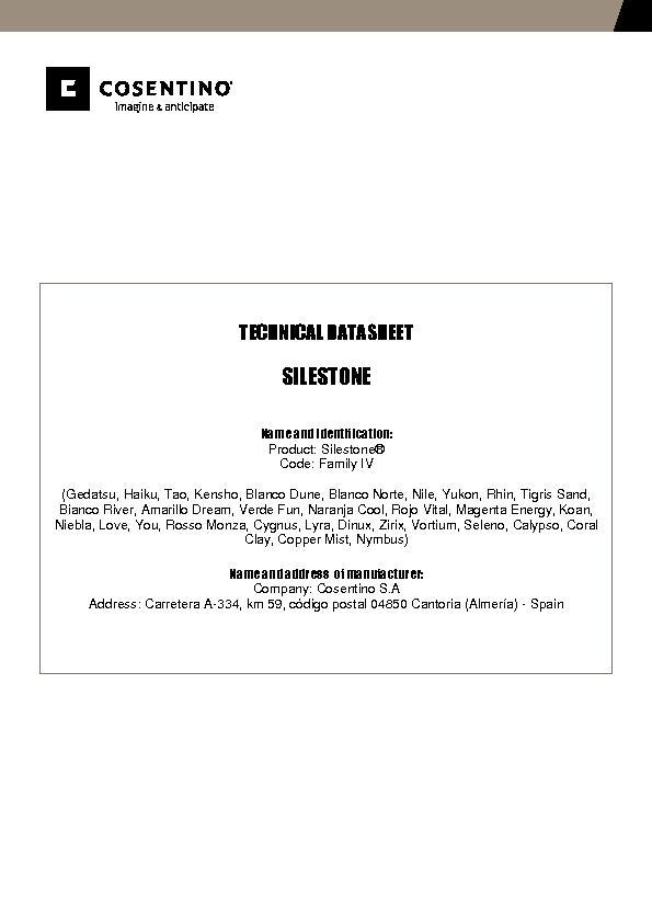Silestone Technical Datasheet Fam IV