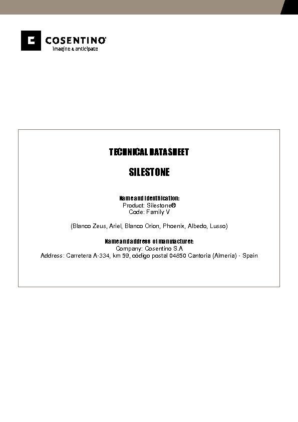 Silestone Technical Datasheet Fam V