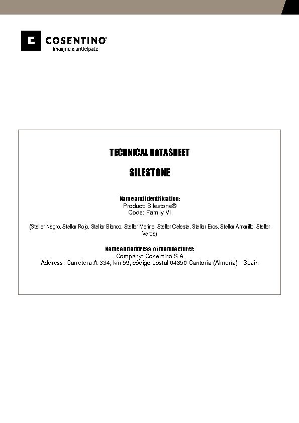 Silestone Technical Datasheet Fam VI
