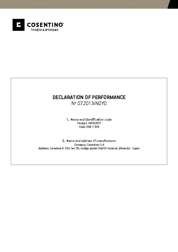 Integrity Declaration of performance
