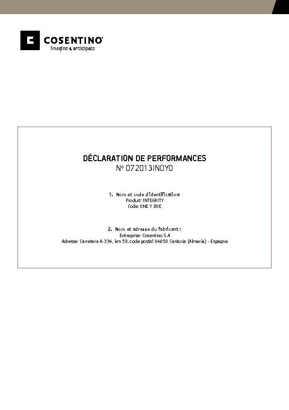 Integrity Declaration of performance