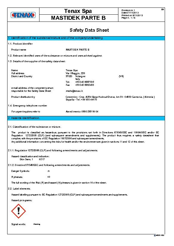MSDS Security Data Sheet Mastidek (B)